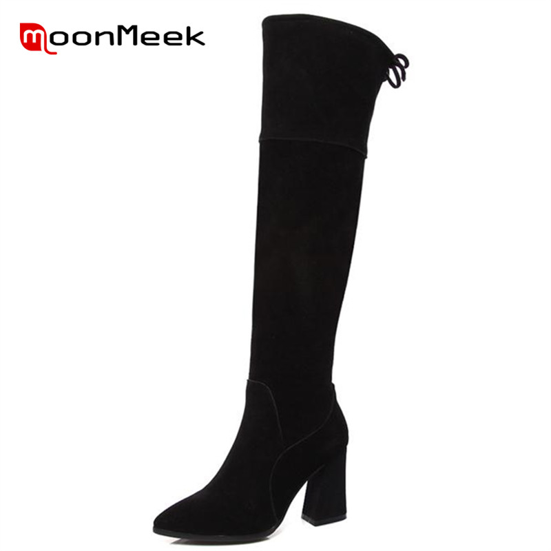 ФОТО MoonMeek Pointed toe over the knee boots elegant office lady autumn winter long boots cow suede split leather boots high heels