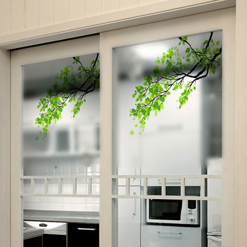 Explosion proof frosted glass window stickers translucent opaque tree branch wall sticker showcase for kids rooms decoration in wall stickers from home