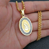 Full Crystal AAA CZ Cubic Zirconia Virgin Mary Pendant Stainless Steel Catholic Necklaces & Pendants Gold Chain Jewelry