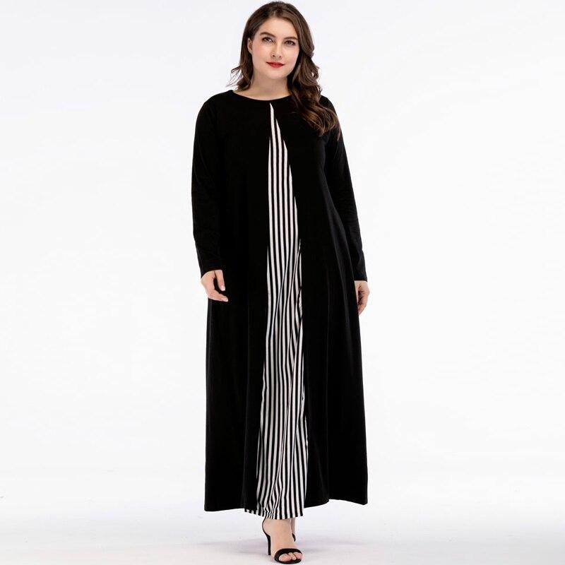 Plus Size Abaya Muslim Dress Islamic Arabic Abayas Long Sleeve Dress Patchwork Striped Pakistani Dubai Islamic Dresses for Women