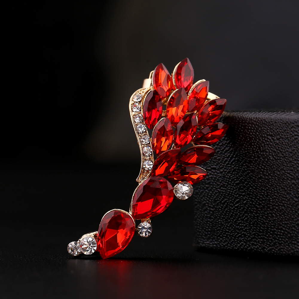 ZLDYOU Fashion Women Gift Red Big Zircon Ear Cuff Beautiful Feather Wing Rhinestones Earcuff Phoenix tail Crystal Clip Earring