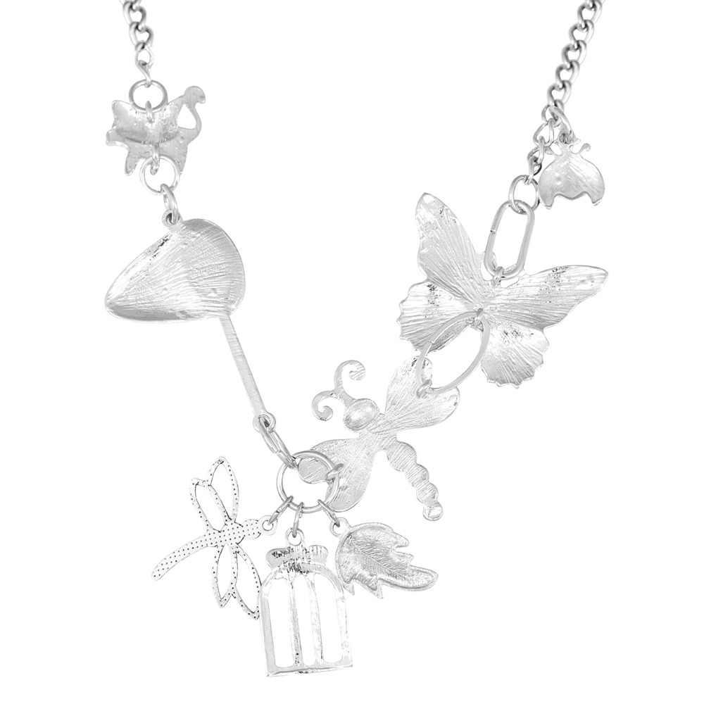 Bonsny אמייל סגסוגת פרפר שפירית חיפושית חתול שרשרת תליון טבעי חרקים תכשיטי עבור נשים בנות בני נוער מתנה אביב