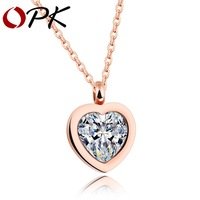 OPK 2017 New LOVE Heart Pendant Necklace For Women Pave Big Cubic Zirconia Rose Gold Color Female Party Gift DropShipping GX1198
