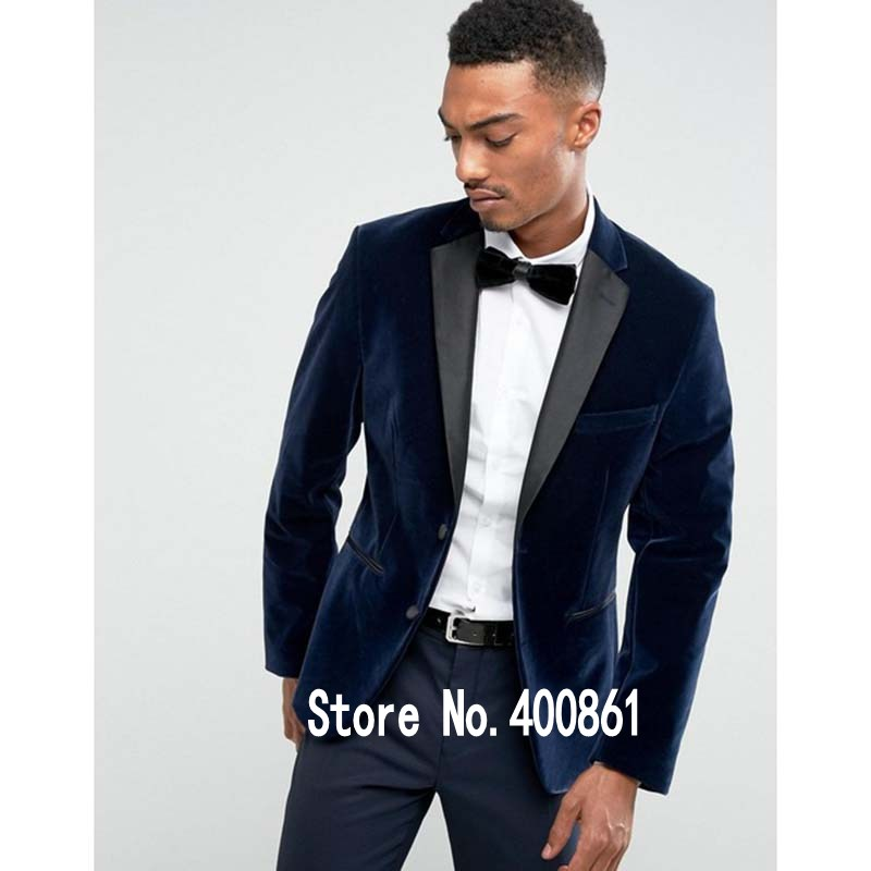 W:41 jacket+pants+bow Tie High Quality Dark Blue Velvet Mens Suits Groom Tuxedos Groomsmen Wedding Party Dinner Best Man Suits