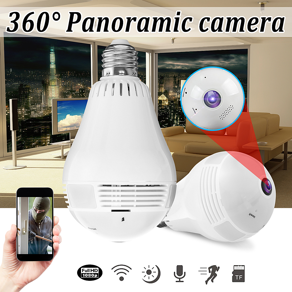 Mini Lamp WIFI Camera 1080P HD Bulb Light Wireless IP Camera IR 360 Degree Panoramic FishEye Lens 2.0MP Home Security Camera 1440p hd 3mp bulb light wifi mini panoramic wireless ip camera fisheye 360 degree panoramic mini lamp wifi p2p cam home camera