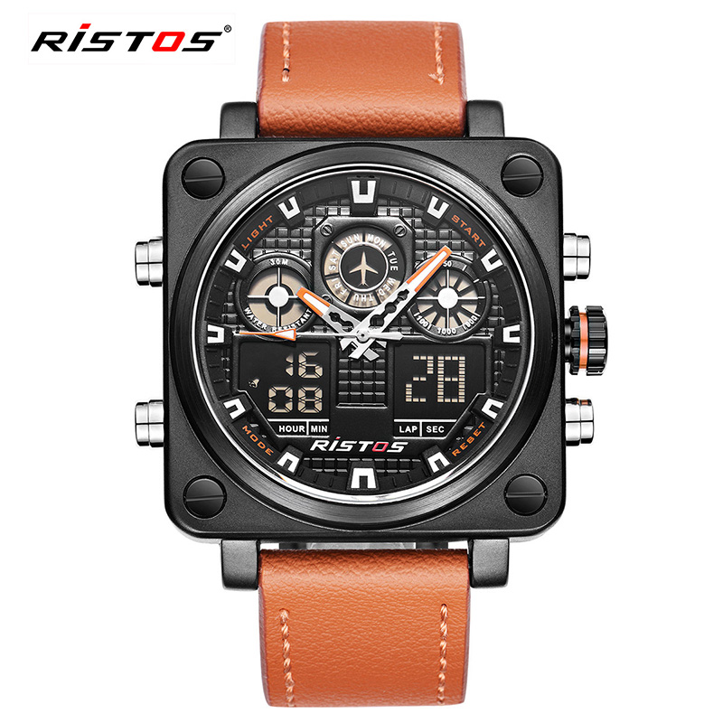 Ristos Chronograph Men Multifunction Sports Watches Military Leather Analog Fashion Wristwatch Relojes Masculino Unique 9343
