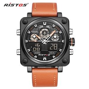 Ristos Chronograph Men Multifunction Sports Watches Military Leather Analog Fashion Wristwatch Relojes Masculino Unique 9343(China)