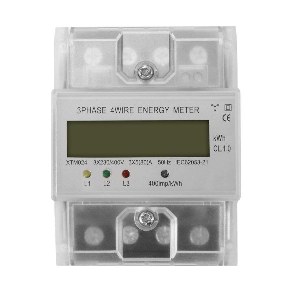 XTM024 Digital LCD 50Hz 5 80 A 3x230V 400V Energy Meter 3 Phase 4 Wire DIN