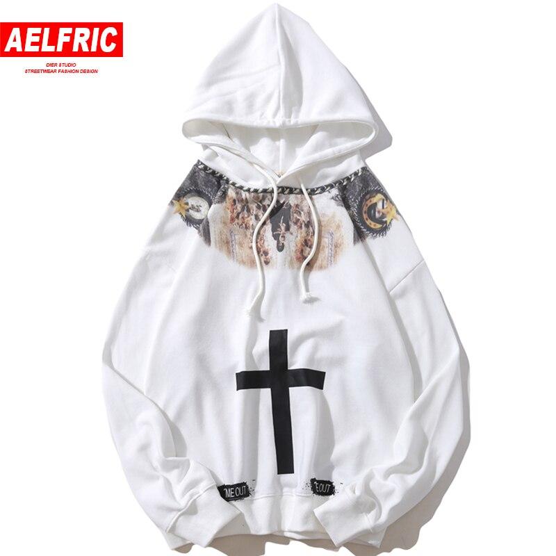 AELFRIC Vigin Mary Religione Stampa del Pullover Degli Uomini di Felpe Felpe 2018 Hip Hop Moda Maschile Casual Streetwear Swag Felpa Con Cappuccio QA10
