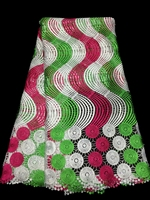 new arrival wave pattern red green and white african water soluble chemical cord lace fabric,guipure lace fabric for wedding