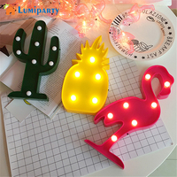 Lumiparty 3D LED Flamingo Lamp Pineapple Cactus Nightlight Romantic Night Light Table Lamp For Christmas Decorations