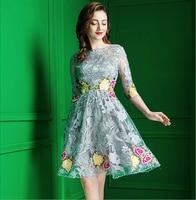Europea de gama alta de encaje bordado vestido de fiesta de noche elegante de verano temperamento delgado de cintura alta oscilación grande Una Línea de vestido de las mujeres