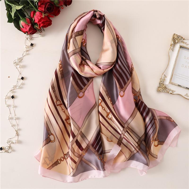Luxury Silk   Scarf   Women Brand Print Beach Scarfs   Wrap   Lady Pashmina   Scarves   Foulard Hijab Head Band Shawls 2019 Fashion