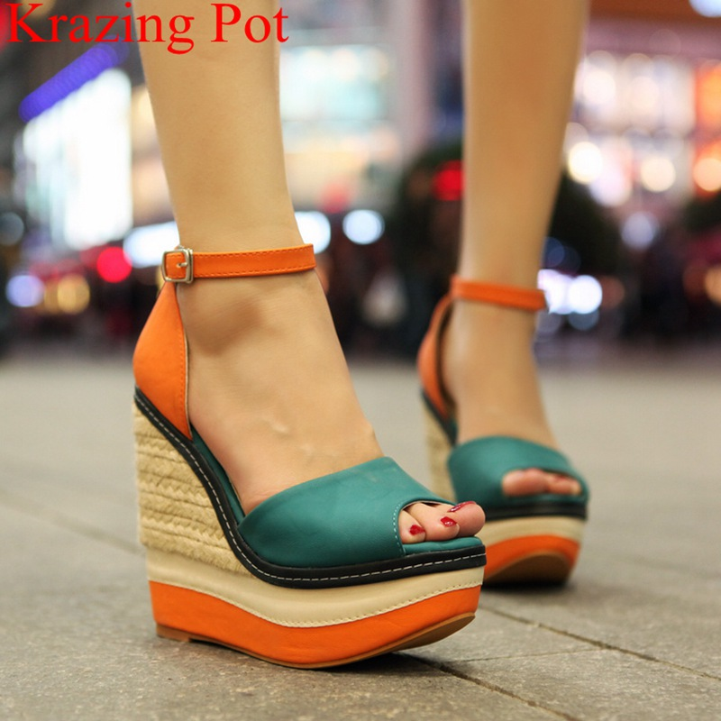 superstar peep toe super high heels wedge women sandals buckle strap nightclub elegant office lady platform wedding shoes L32 цена