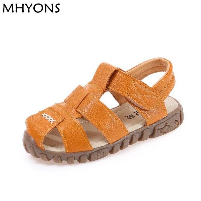 MHYONS 2018 Kids Sandals Boys Summer Sandals Casual Soft Leather Breathable Baby boy Prewalker Sandals Children Beach Shoes