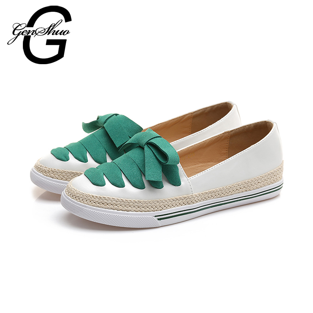 GENSHUO Loafers 2017 Summer Slip On Flats Fisherman Shoes Woman Casual Spring Women Flat Shoes Plus Size 34-41 Cheap Shoes spring summer women flat ol party shoes pointed toe slip on flats ladies loafer shoes comfortable single casual flats size 34 41