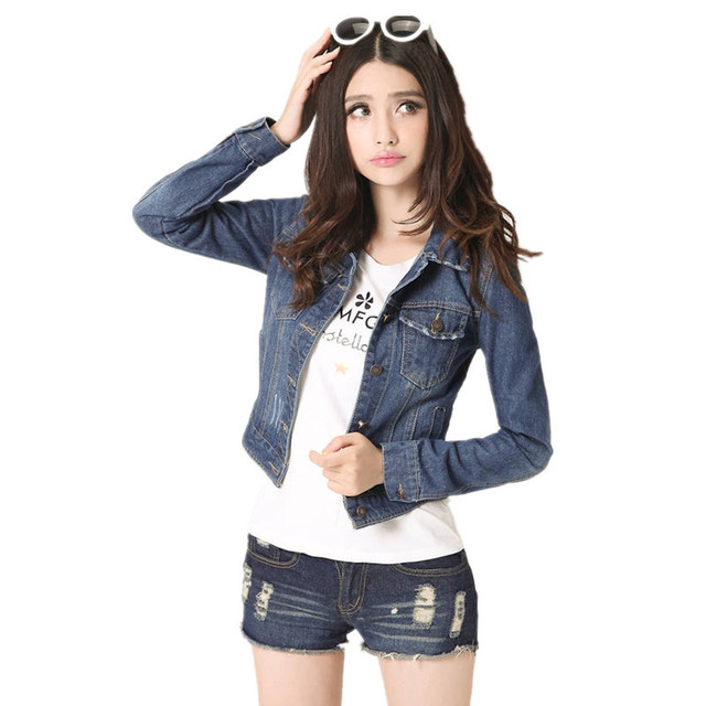 197ab87faf6 4XL Denim Jacket Short Coat Car Styling Women Jean Jacket Fashion Feminino  New Veste Femme Jeans