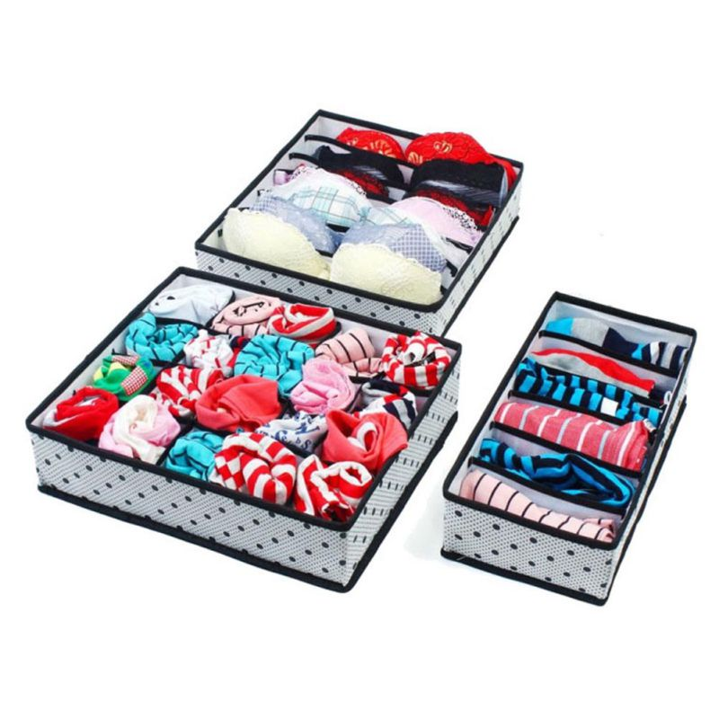 Underwear Storage Boxes 3Pcs Sets Non-Woven Collapsible Organization Draw Divider Container