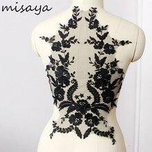 Misaya 1 מחשב תחרה בד שחור Lvory לבן כותנה רקום Applique DIY חתונה high end שמלה אביזרים בעבודת יד