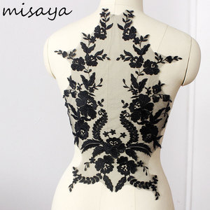 Misaya 1pc Lace Fabric Black Lvory White Cotton Embroidered Applique DIY High-end Wedding Dress Accessories Handmade(China)