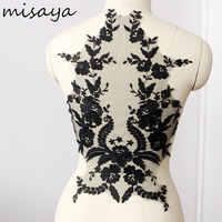 Misaya 1pc tecido de renda preto lvory branco algodão bordado apliques diy high-end vestido de casamento acessórios feitos à mão