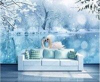 תמונה מותאמת אישית טפט לא ארוג 3d mural אגם ברבורים קרח ושלג 3d ציור קיר ציורי קיר טפטים לקירות 3 d סלון