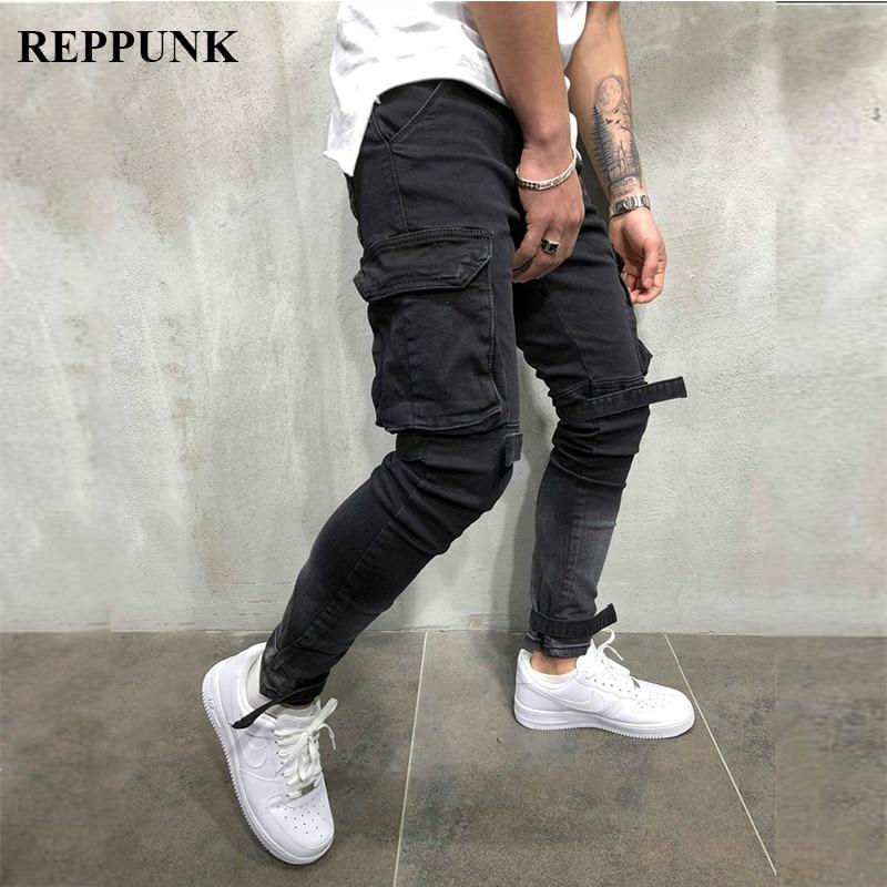 REPPUNK 2019 New Slim Fit Ripped Jeans Men Black Hi-Street Male Distressed Denim Personality Male Knee Holes Washed Denim Pants