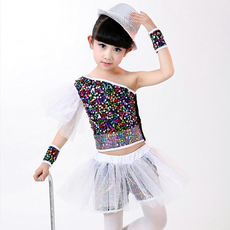Free Shipping New Sequin Children Girls Jazz Dance Costumes Hip Hop Dance Wear Kids Stage Performance Ballroom Dancing Clothes