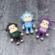 цена на Cartoon Sound Light Keychains Cute Monkey LED keychain Flashlight Sound Keyring Creative Kids Toys Children Gifts