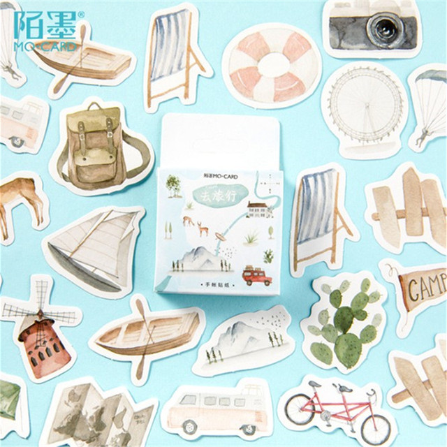 46 unids/pack ir viaje diario de bala de papelería pegatinas DIY Scrapbooking diario álbum palo etiqueta