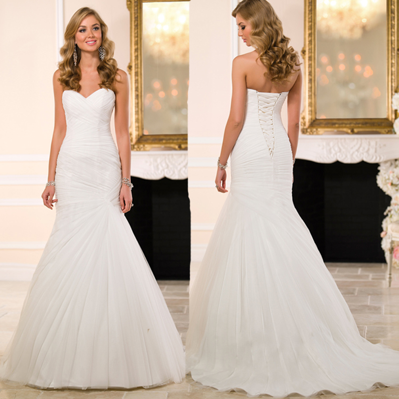 Lace Mermaid Wedding Gown With Tulle Skirt: Sweetheart Off Shoulder Pleats Tulle Mermaid Wedding
