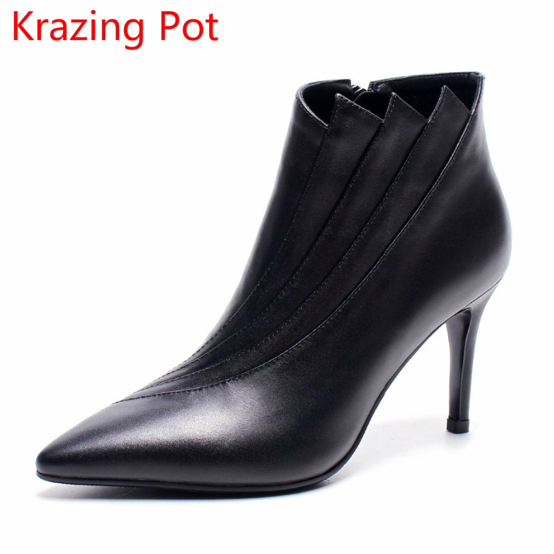 2018 Superstar Cow Leather High Heels Winter Boots European Pointed Toe Fashion Sexy Runway Wedding Ankle Boots for Women L8f2 2017 superstar cow leather platform european ankle strap peep toe print mixed colors classic women increased runway sandals 0 4