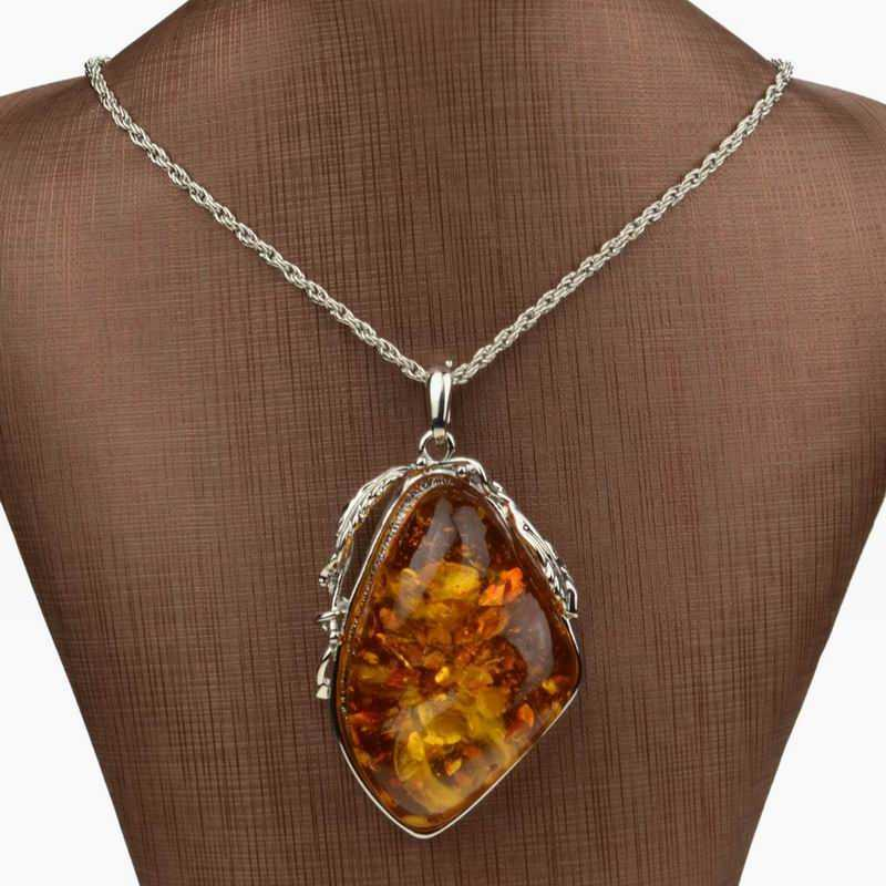 Silver Drop Pendant Huge Teardrop Shaped Gemstone Silver Necklace Pendant