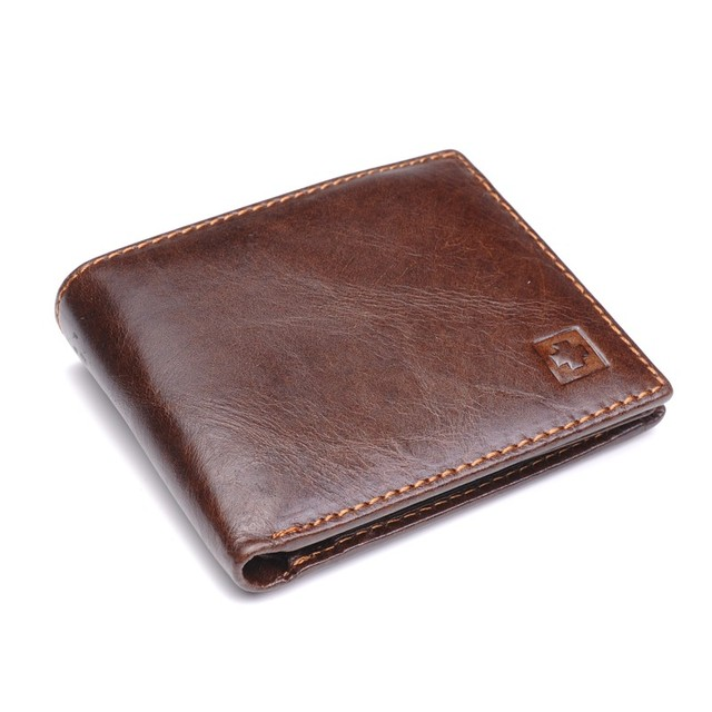100% Genuine Leather Wallet Men New Brand Purses for men Black Brown Bifold Wallet RFID Blocking Wallets With Gift Box MRF7 1