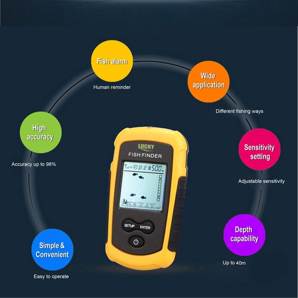 detector de alarme 40m profundidade fishfinder mar