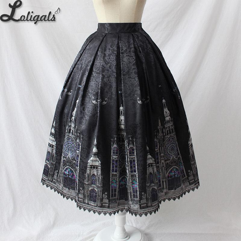 Gothic Women's Midi Skirt Church Printed A line Skirt by Alice Girl Pre-order