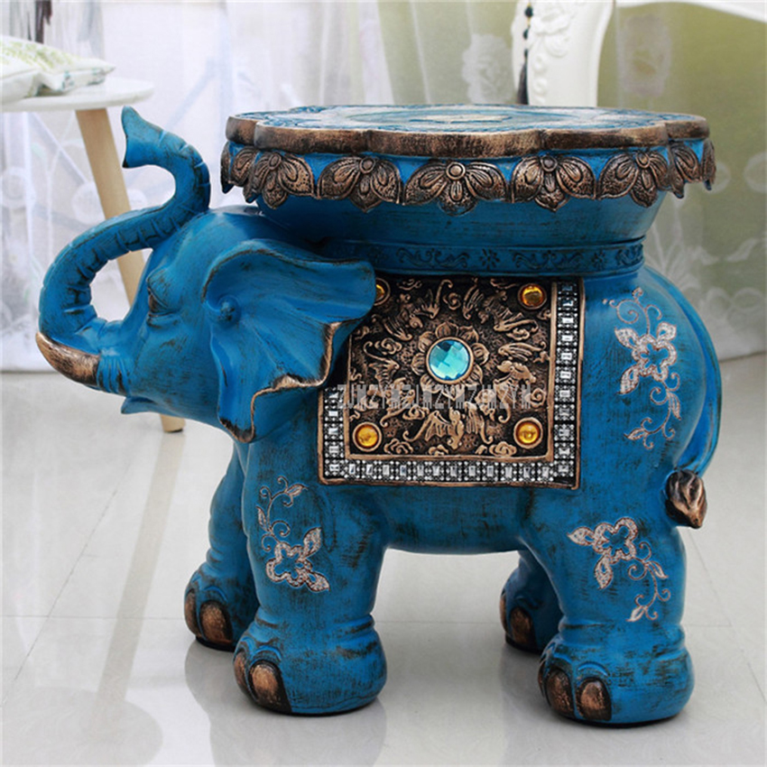 European Style Lucky Elephant Design Low Stool For Living Room Home Furnishing Decoration Ornament Ottoman Stool Wedding Gifts