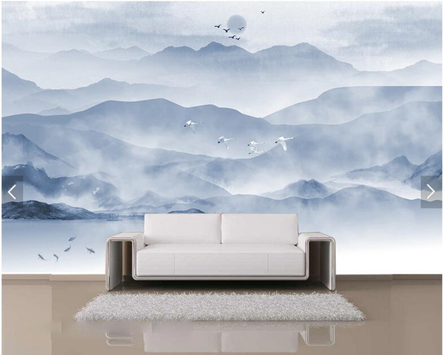 Custom Chinese Painting Wallpaper, Ink Mountain And Water Painting For  Living Room TV Sofa Background Wall Paper