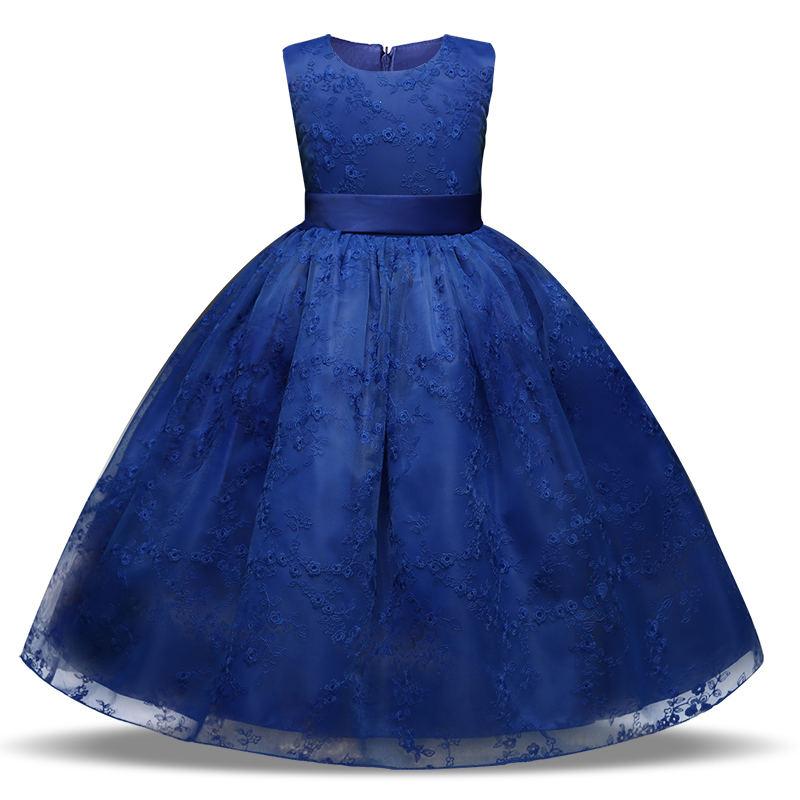 цена на Flower Girls Party Dress Embroidered Formal Bridesmaid Wedding Girl Dress Princess Ball Gown Kids Vestido solid Brief Dresses