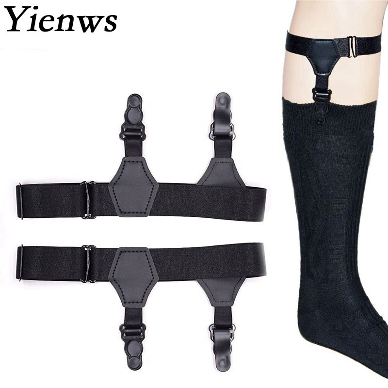 Yienws Braces Suspensorio Socks Garters For Men 2.5cm Two Clips Sock Holder Stays Suspenders Masculino YiA031