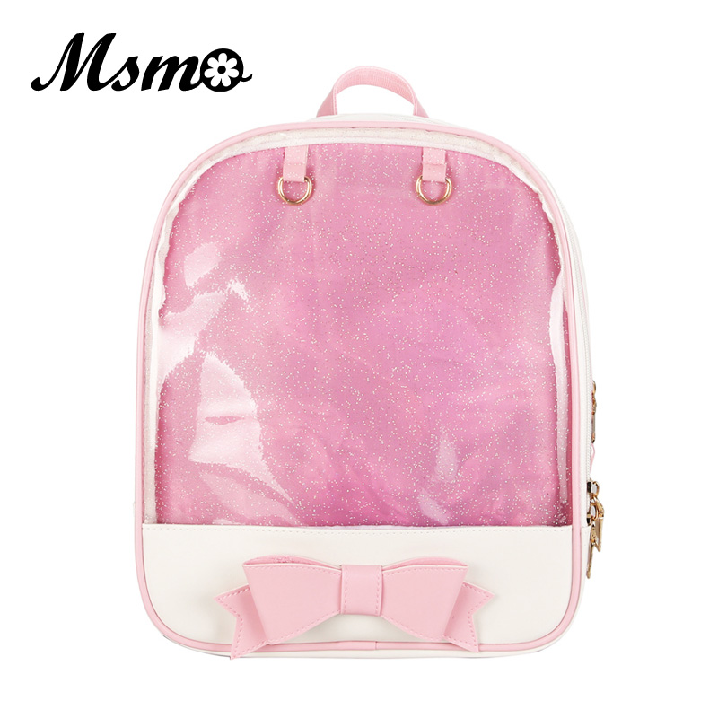 MSMO Kawaii Transparent Heart Window Lolita Student School Bag Backpack Candy Color Lovely Ita Bag Sweet Cute Girls Gift