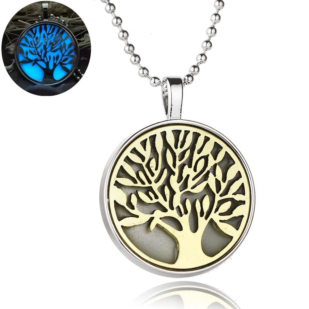 Горячее Дерево жизни свет круглый 30 мм светящийся Золотой цвет подарок ожерелье