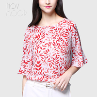 Women summer red green leaves print flare sleeve natural silk t shirt and tops plus size tee shirt poleras camisa ropa LT2335