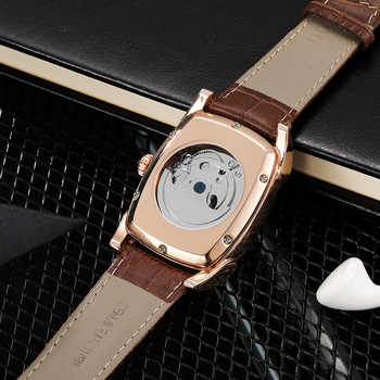 OUYAWEI Men Watches Automatic Mechanical Watch Luxury Rose Gold Wristwatch Leather Retro Casual Business Relojes Hombre 2019