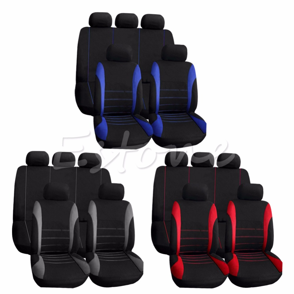 New Car Seat Covers Red Set for Auto w Steering Wheel Belt Pad Head Rests 9