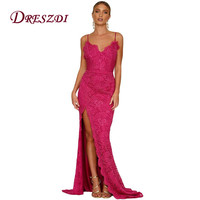 Liva Girl 2017 Elegant Women Gown Spaghetti Strap Formal Lace Dress Sexy High Split Open Back