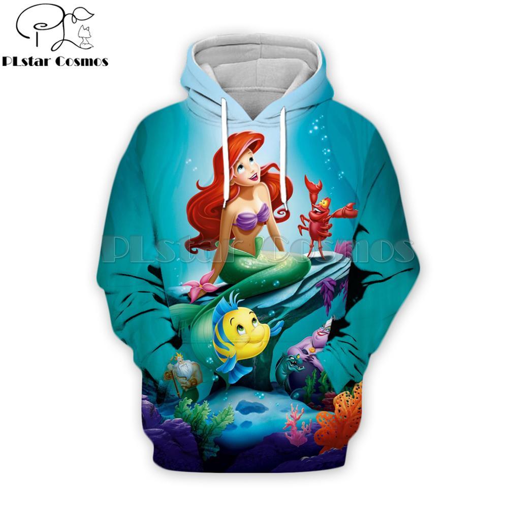 PLstar Cosmos Brand Alice In Wonderland Fashion Male/Female Hoodies Little Mermaid Movie 3D Printed Streetwear Hooded Jacket