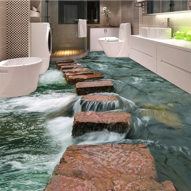 Beibehang Clear River Floor Path Toilets Bathroom 3d