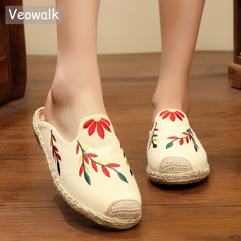 Veowalk Summer Women Handmade Linen Cotton Embroidered Flat Slippers Ladies Comfort Canvas Embroidered Mules espadrilles Shoes