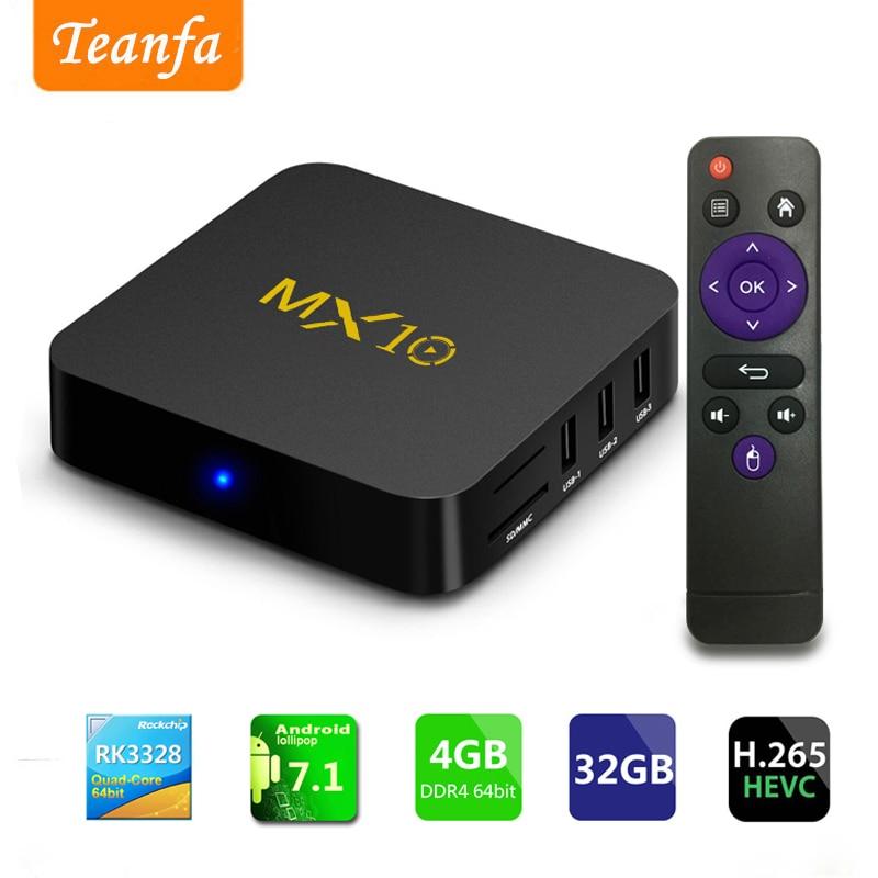 где купить Streaming Media Player, MX10 Android 7.1 TV Box 4GB + 32GB, Smart 4K TV Box Support 2.4G Wifi 64bit Quad-Core 3D HDR Video Play по лучшей цене